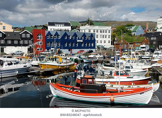 ships in the harbour of Thorshaven, Denmark, Faroe Islands, Streymoy, Thorshaven
