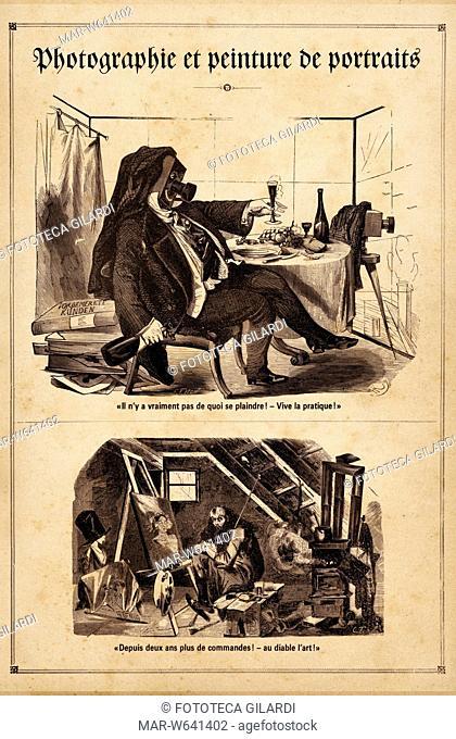 FOTOGRAFIA Storia. Caricature riferite ai cambiamenti di costume conseguenti alla diffusione di questo nuovo modo di produrre immagini: nella parte superiore la...