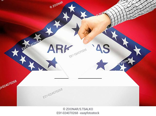 Voting concept - Ballot box with national flag on background - Arkansas