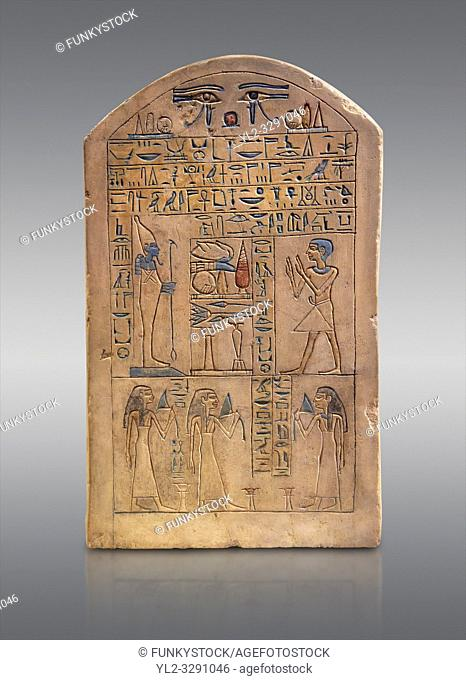 Ancient Egyptian limestone funerary stele of Ipepi with his wife, mother and sister in front of Osiris. Middle Kingdom, 11th Dynasty, 2120-1980 BC