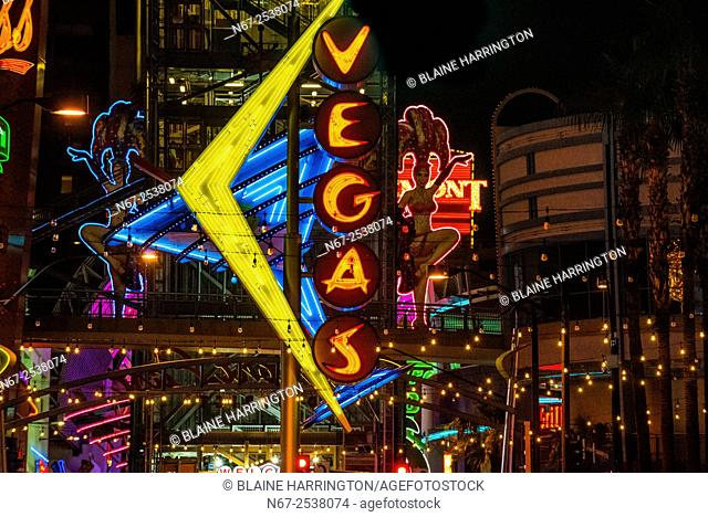 Vegas Neon Sign, Downtown Las Vegas, Nevada USA
