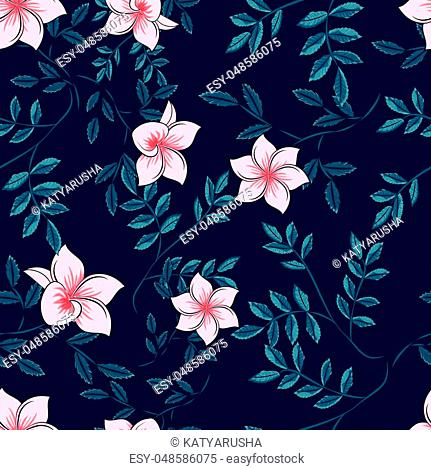 pattern of leaves of a palm tree and flowers on a dark background, vector illustration