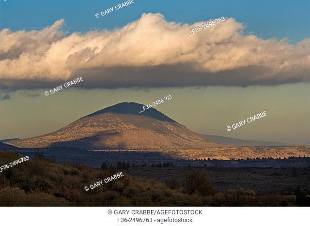 Cloud over volcanic dome, Lava Beds National Monument, Siskiyou County, California