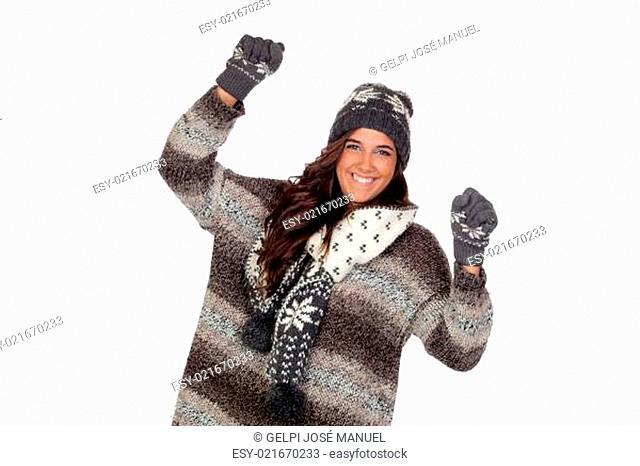 Winner girl dressed in winter clothing