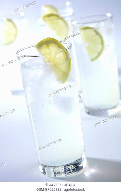 Lemon soft drink in a different glasses