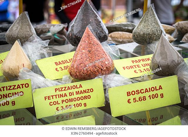 Rome, Italy- Bags of spices for sale in Campo de' Fiori, the largest and oldest outdoor market in Rome. It is located south of Piazza Navona