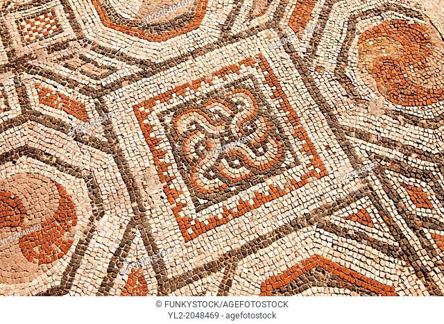 4th cent. AD geometric floor mosaics of the late Roman period Jewish synagogue of Sardis. Sardis archaeological site, Hermus valley, Turkey