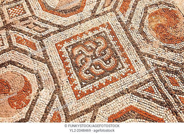 4th cent. AD geometric floor mosaics of the late Roman period Jewish synagogue of Sardis. Sardis archaeological site, Hermus valley, Turkey