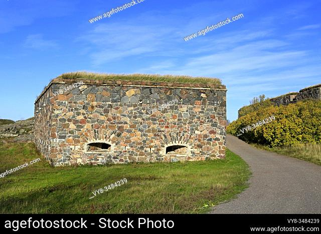 Fortifications and scenery in Suomenlinna on sunny day of October. The Sea Fortress Suomenlinna in Helsinki, Finland, is an UNESCO World Heritage site