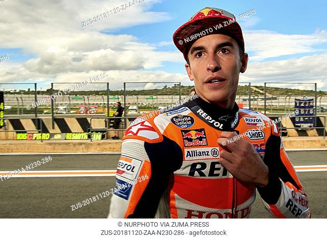 November 20, 2018 - Valencia, Spain - Marc Marquez (93) of Spain and Repsol Honda Team during the tests of the new MotoGP season 2019 at Ricardo Tormo Circuit...