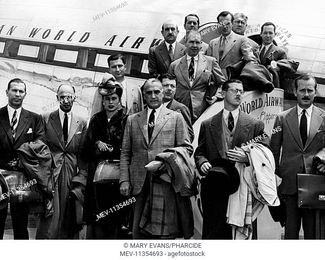 Group photo, Argentinian delegates at Miami, Florida, USA, 11 May 1945, posing in front of an aeroplane. They were on their way to San Francisco to attend a...