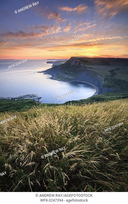 Chapman's Pool on Dorset's Jurassic Coast, captured from the South West Coast Path at sunset in early July