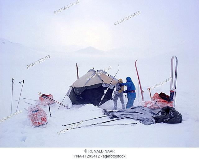 Ski adventurer near Landmannalaugar, Myrdalsjokull, Iceland