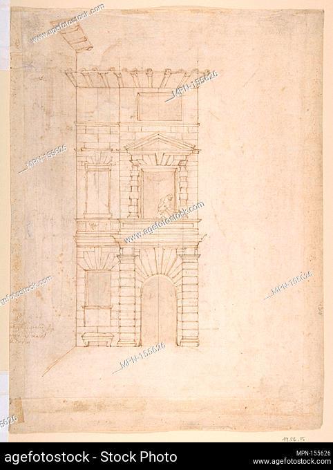 Elevation of Giulio Romano's House (recto); the Ruins from the Caelius Aqueduct and Temple of Claudius in Rome (verso). Artist: Giovanni Battista Naldini...