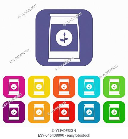 Flower seeds in package icons set illustration in flat style in colors red, blue, green, and other