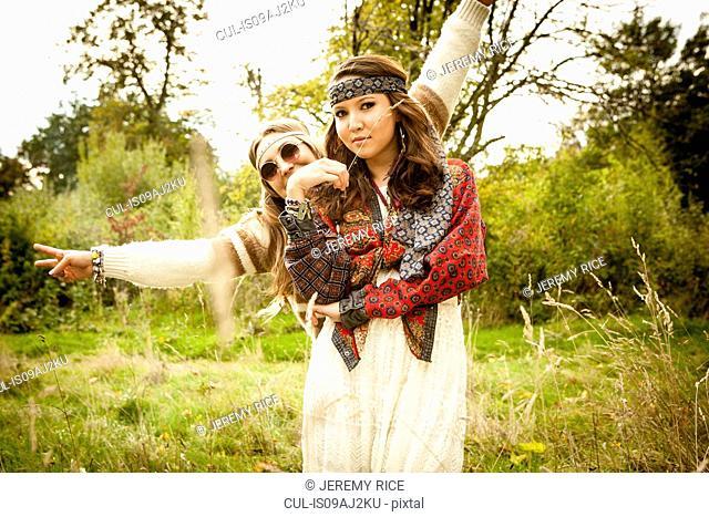 Hippy girls in a field