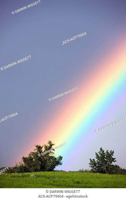 Rainbow over rangeland near Leader Saskatchewan, Canada