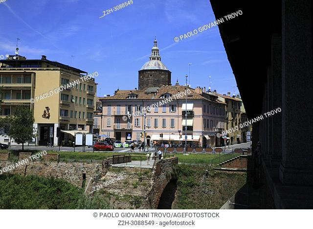 The view from The Ponte Coperto (covered bridge), Pavia, Lombardy, Italy