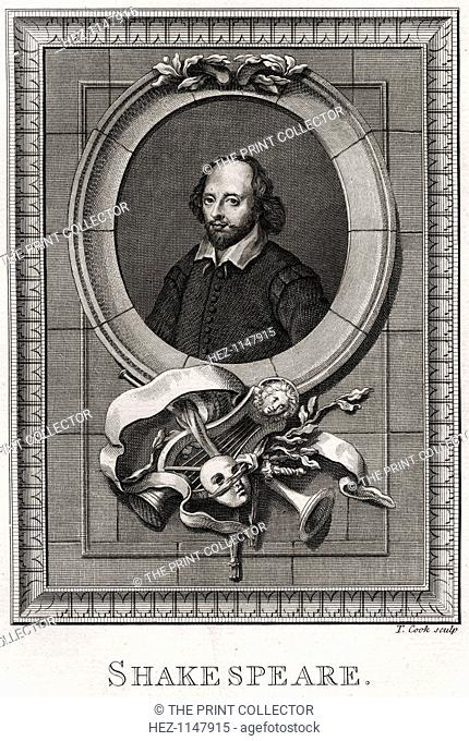 'Shakespeare', 1776. Portrait of the playwright (1564-1616), plate from The Copper-Plate Magazine or A Monthly Treasure, London, 1776