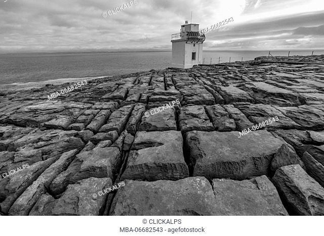 Black and white shot of Blackhead lighthouse. Burren National Park, Munster, Co.Clare, Ireland, Europe