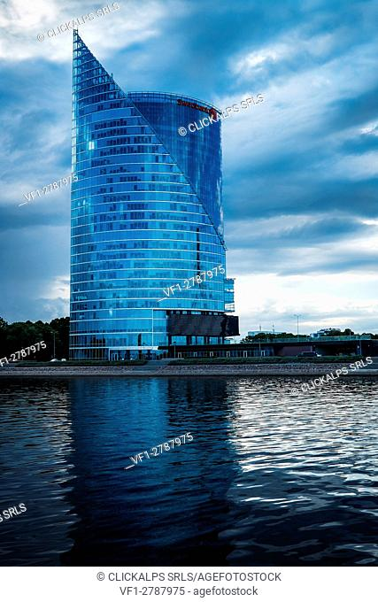 Riga, Latvia, Europe. Modern offices buildin near the Daugava river