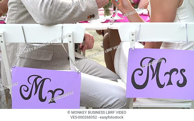 Slow motion sequence as camera moves from Mr & Mrs signs on backs of chairs to bride and groom who smile at camera.Shot on Sony FS700 in PAL format at a frame...