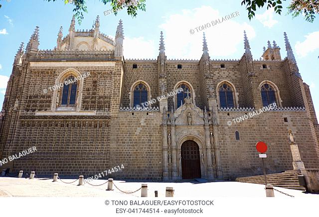San Juan de Reyes church in Toledo with old shackles decoration in Spain