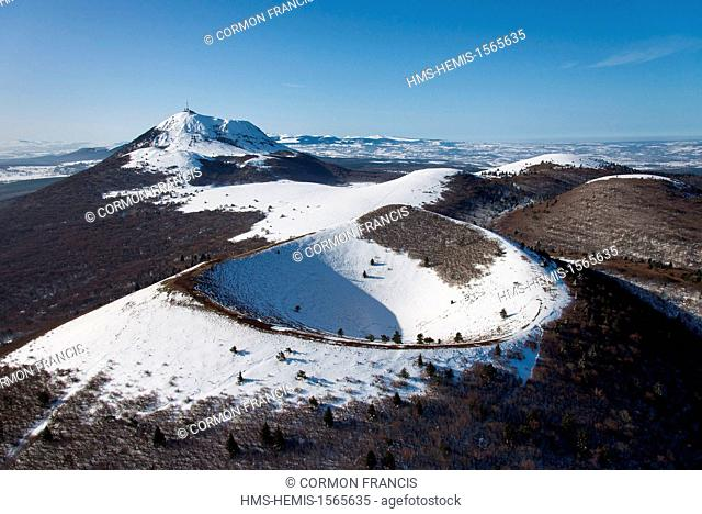 France, Puy de Dome, Regional Natural Park of the Volcanoes of Auvergne, Chaine des Puys, Orcines, the crater of Puy Pariou volcano