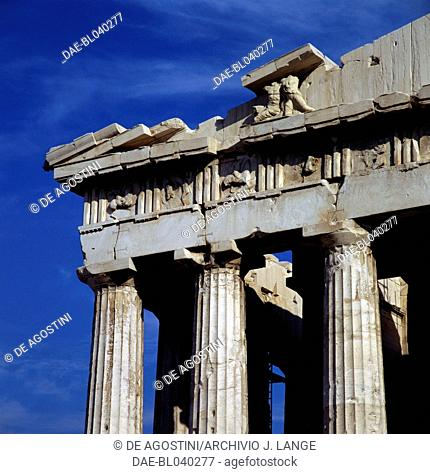 Metopes and reliefs on the west pediment of the Parthenon, Acropolis of Athens (UNESCO World Heritage List, 1987), Greece