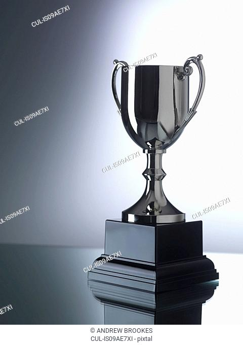 Trophy against black and white background