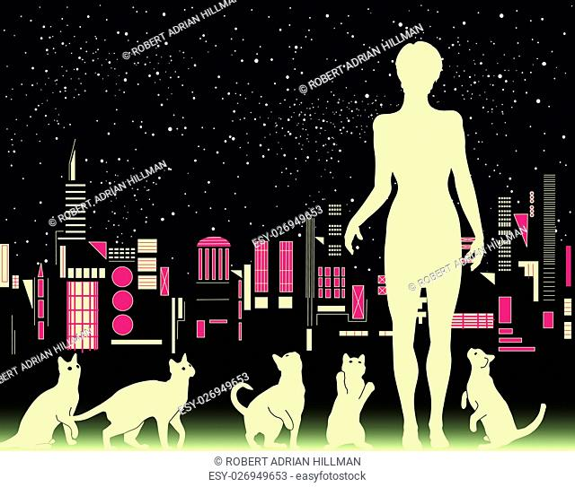 Editable vector illustration of a woman with cats