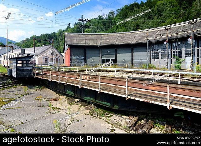 Mürzzuschlag, museum Südbahnmuseum about Semmering railway, ring lok shed in Hochsteiermark, Steiermark, Styria, Austria