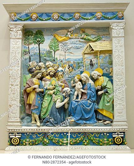 The Adoration of the Kings. Andrea della Robbia. Tin-glazed terracotta. Italy, Florence. About 1500-1510. The Victoria and Albert Museum. London