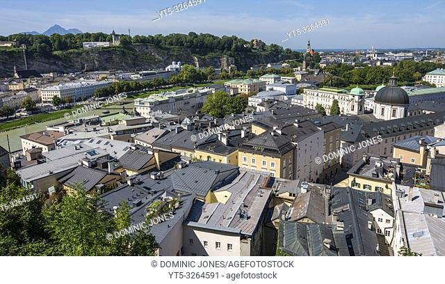 View across the rooftops of Salzburg, Austria, Europe