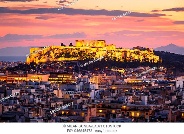 View of Acropolis and Parthenon from Strefi hill in Athens, Greece.