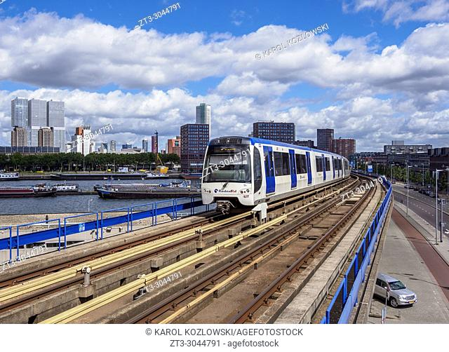 Train larriving at Maashaven Metro Station, Rotterdam, South Holland, The Netherlands