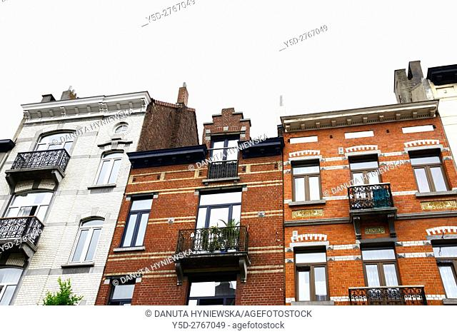 residential architecture in European district, Brussels, Belgium, Europe