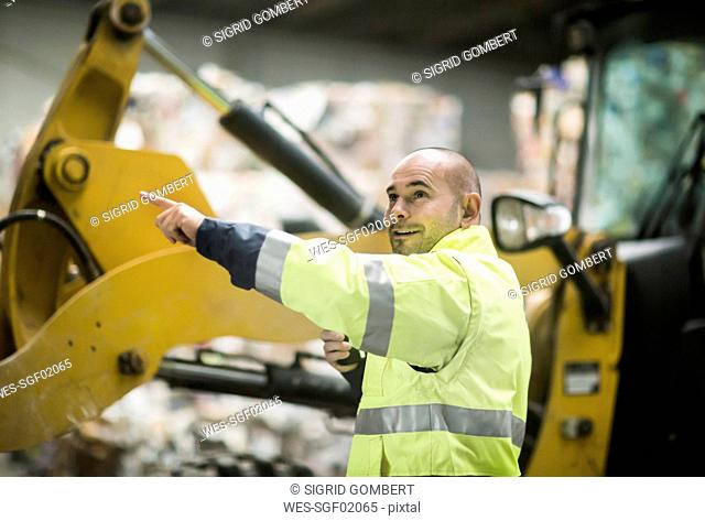 Man working at recycling yard