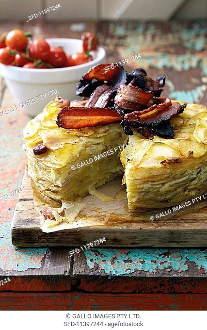 Potato cake with leek and crispy bacon