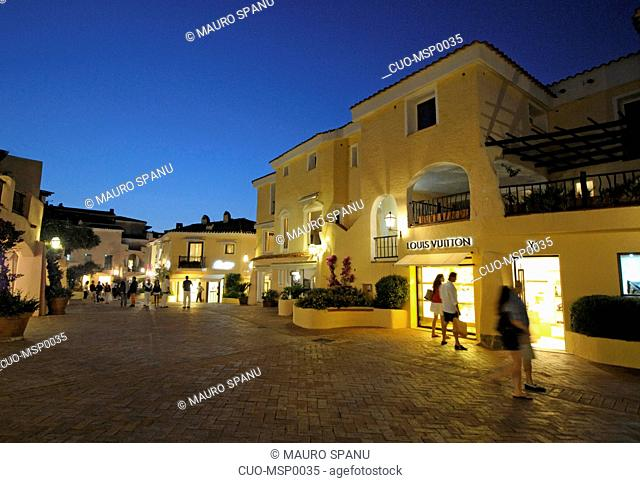 Piazzetta square, Porto Cervo shop by night, Costa Smeralda, Arzachena, Sardinia, Italy, Europe