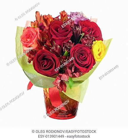 Colorful flower bouquet in red glass vase isolated on white background. Closeup