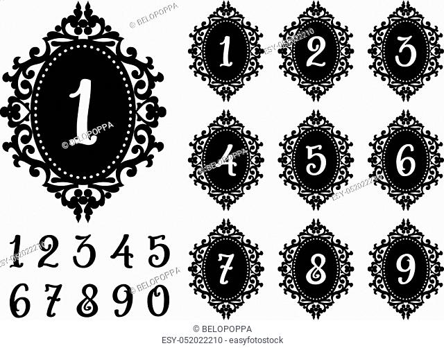 Modern Laser cutting numbers template for the festive table. Lacy frame for weddings, save the date, birthday party, baby shower