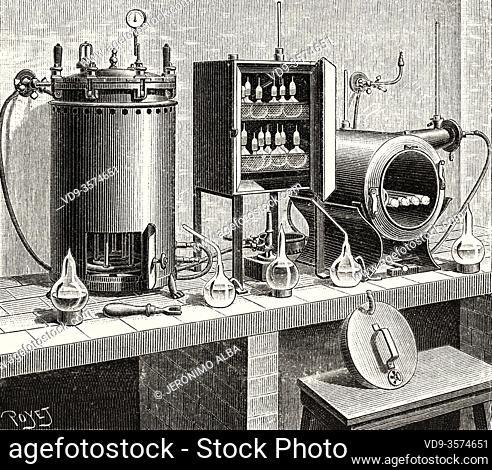 The Pasteur Institute. Pressure gauge autoclave, culture stove and sterilization 1890 Paris, France. Old XIX century engraved illustration from La Ilustracion...