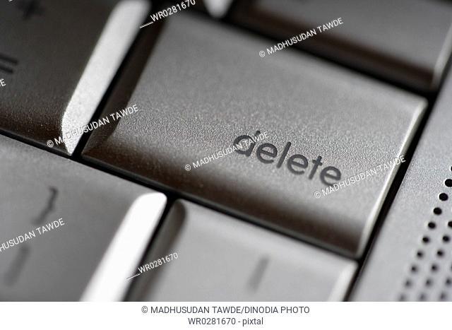 Computer keyboard , delete key , Apple Laptop Mac Book Pro , India