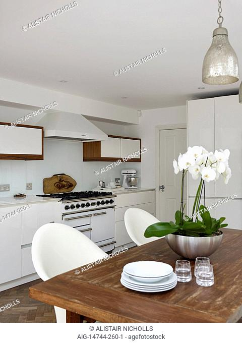 Orchid on wooden table with pendant lighting in modern kitchen of Fernhurst Road home, UK