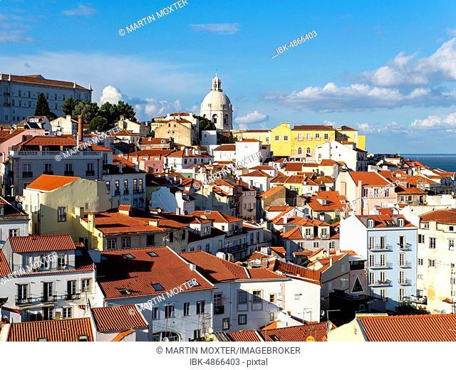 View from Miradouro Santa Luzia to the old town, Alfama district, Lisbon, Portugal