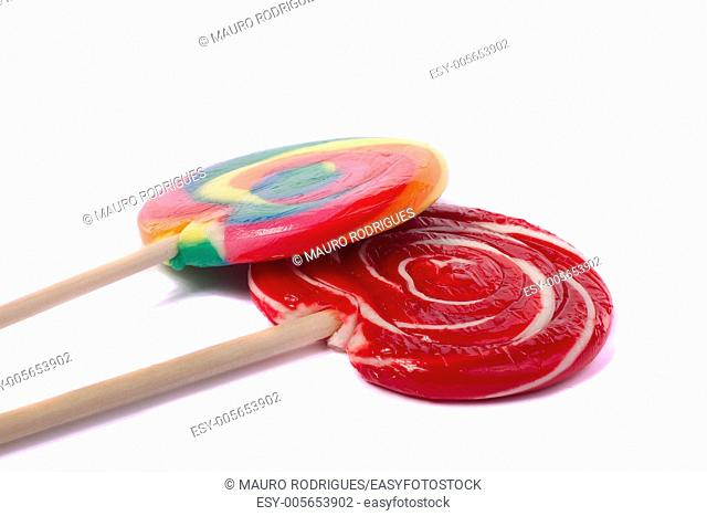 Close up view of a sweet lollipop isolated on a white background