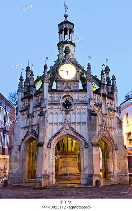 UK, United Kingdom, Great Britain, Britain, England, West Sussex, Chichester, Chichester Market Cross, Night View, Illumination, Tourism, Travel, Holiday