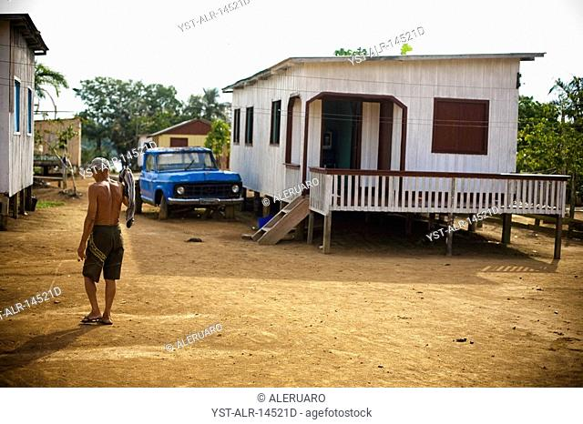 Houses, People, Nossa Senhora de Fátima Community, Igarapé do Camara, Iranduba, Amazonas, Brazil