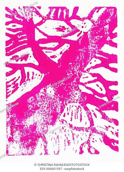 Tree print, original made in linoleum print technique, in pink